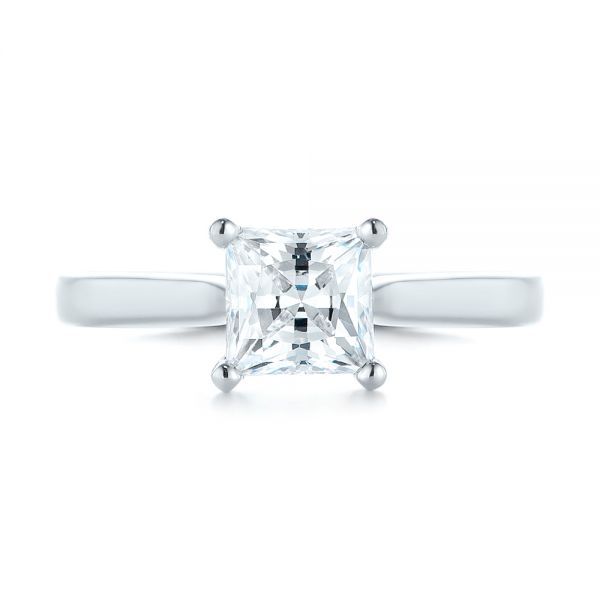 14k White Gold Solitaire Diamond Engagement Ring - Top View -