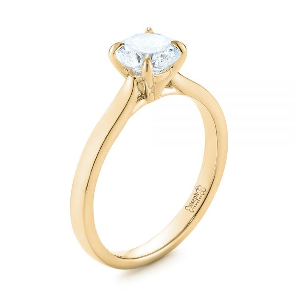 14k Yellow Gold 14k Yellow Gold Solitaire Diamond Engagement Ring - Three-Quarter View -