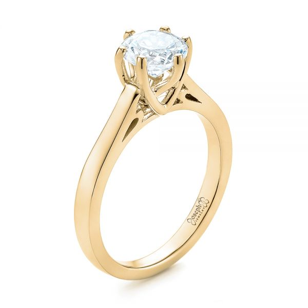 14K Yellow Gold Solitaire Diamond Engagement Ring - Three-Quarter View -  104120 - Thumbnail