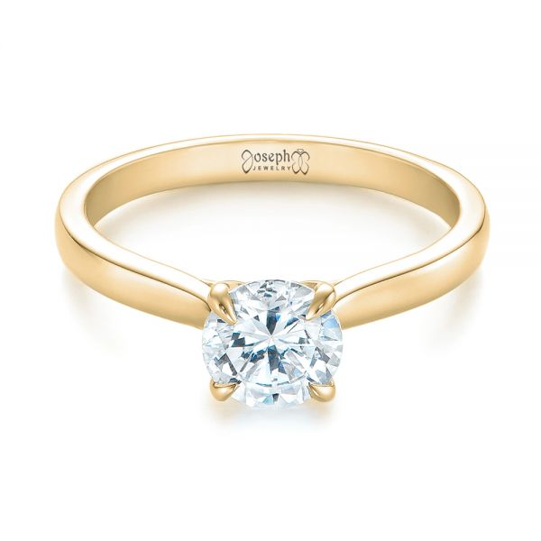 14k Yellow Gold 14k Yellow Gold Solitaire Diamond Engagement Ring - Flat View -