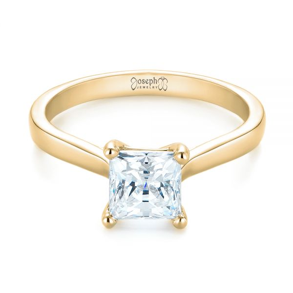 18k Yellow Gold 18k Yellow Gold Solitaire Diamond Engagement Ring - Flat View -  104180