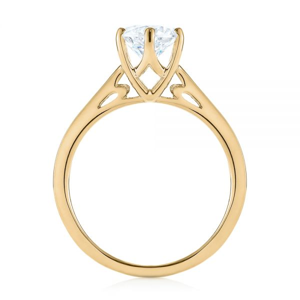 14K Yellow Gold Solitaire Diamond Engagement Ring - Front View -  104120 - Thumbnail