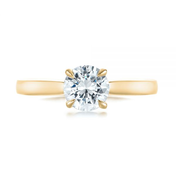 14k Yellow Gold 14k Yellow Gold Solitaire Diamond Engagement Ring - Top View -
