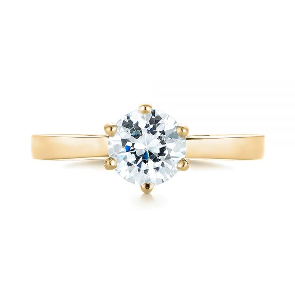 14K Yellow Gold Solitaire Diamond Engagement Ring - Top View -  104120 - Thumbnail