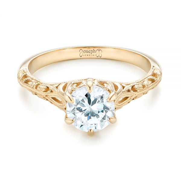 Solitaire Diamond and Yellow Gold Engagement Ring - Flat View -  102767 - Thumbnail