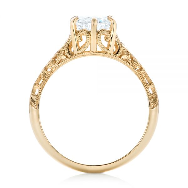Solitaire Diamond and Yellow Gold Engagement Ring - Front View -  102767 - Thumbnail