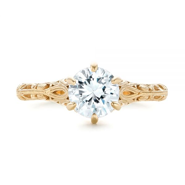 Solitaire Diamond and Yellow Gold Engagement Ring - Top View -  102767 - Thumbnail