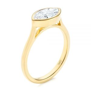 Solitaire East-West Marquise Diamond Engagement Ring - Image