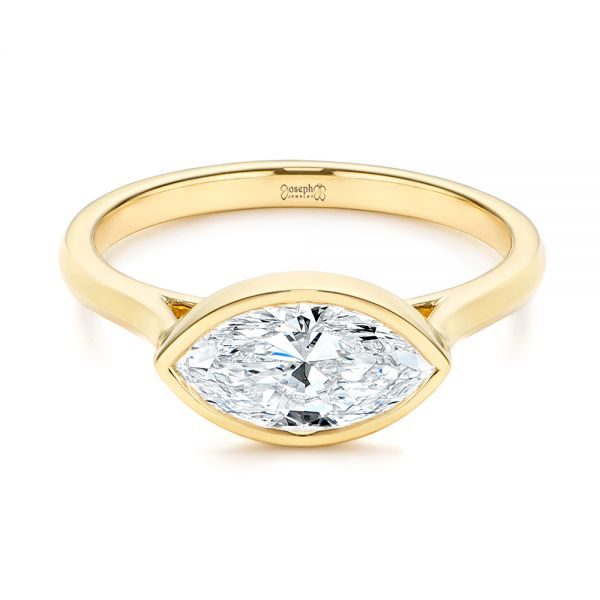 18k Yellow Gold Solitaire East-west Marquise Diamond Engagement Ring - Flat View -  105869 - Thumbnail