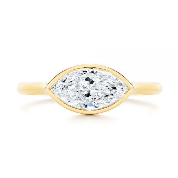 18k Yellow Gold Solitaire East-west Marquise Diamond Engagement Ring - Top View -  105869 - Thumbnail