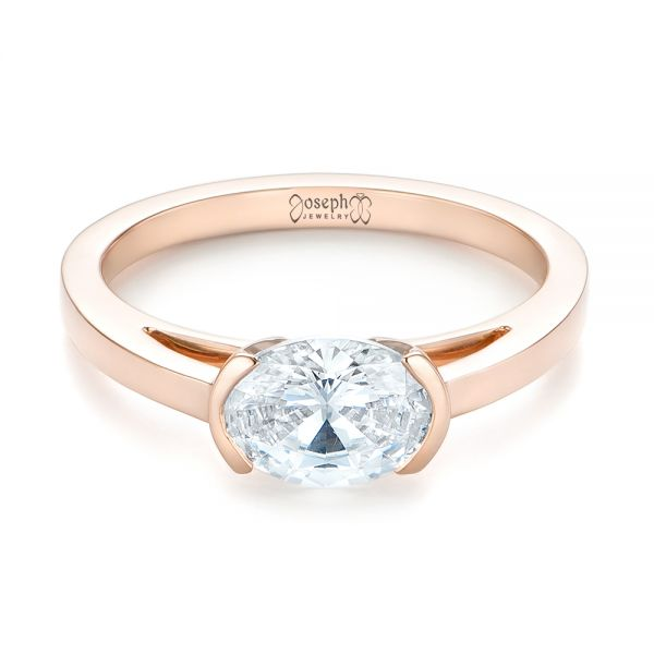 14k Rose Gold Solitaire Engagement Ring - Flat View -
