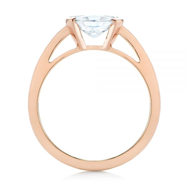 14k Rose Gold Solitaire Engagement Ring - Front View -