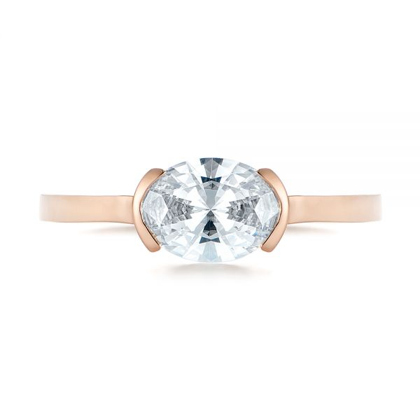 14k Rose Gold Solitaire Engagement Ring - Top View -