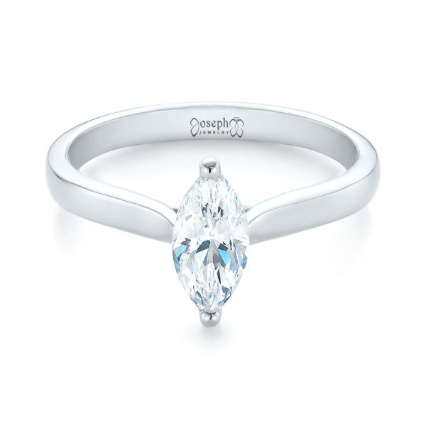 Solitaire Marquise Diamond Engagement Ring - Flat View -  104097 - Thumbnail