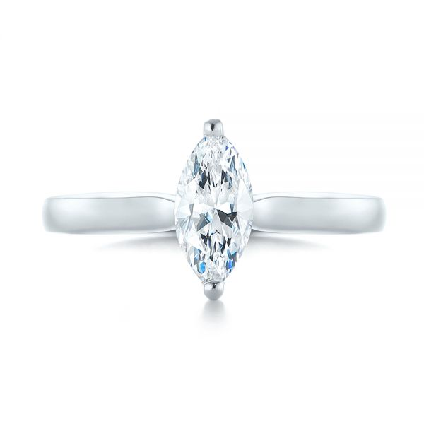 Solitaire Marquise Diamond Engagement Ring - Top View -  104097 - Thumbnail