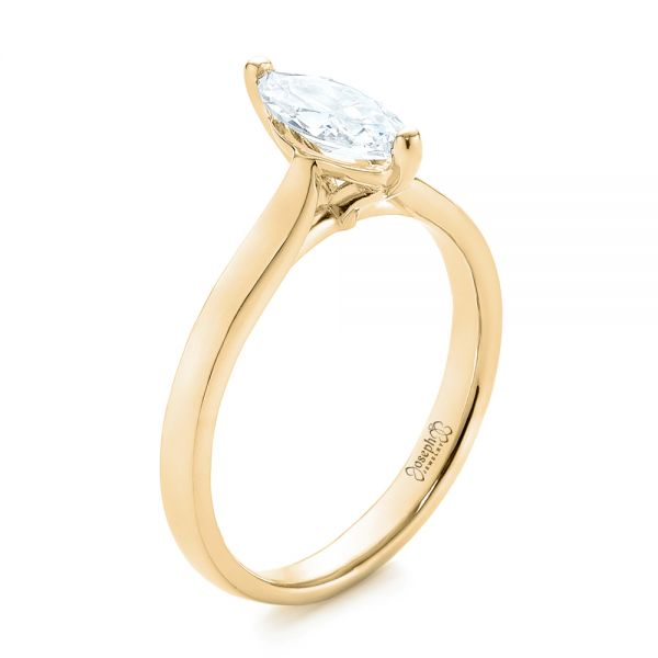 14k Yellow Gold 14k Yellow Gold Solitaire Marquise Diamond Engagement Ring - Three-Quarter View -