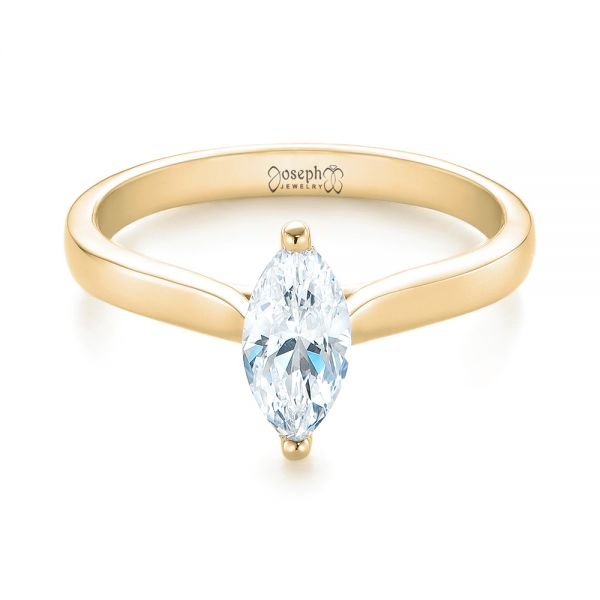 14k Yellow Gold 14k Yellow Gold Solitaire Marquise Diamond Engagement Ring - Flat View -