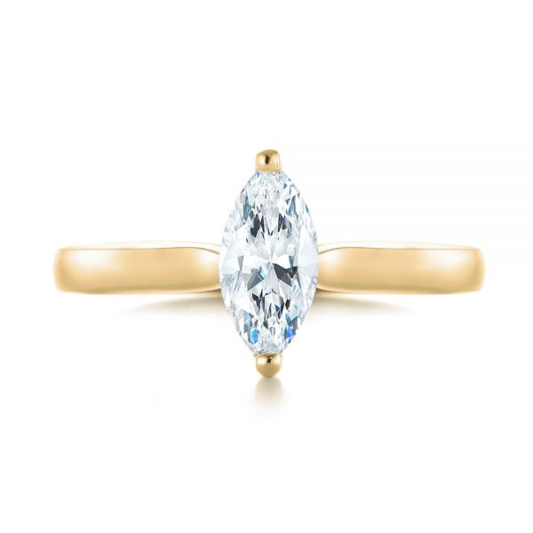 14k Yellow Gold 14k Yellow Gold Solitaire Marquise Diamond Engagement Ring - Top View -