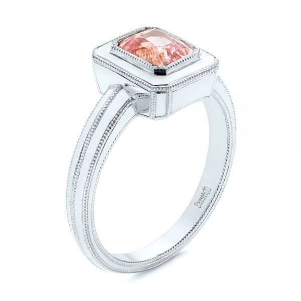 Solitaire Peach Sapphire Engagement Ring - Image