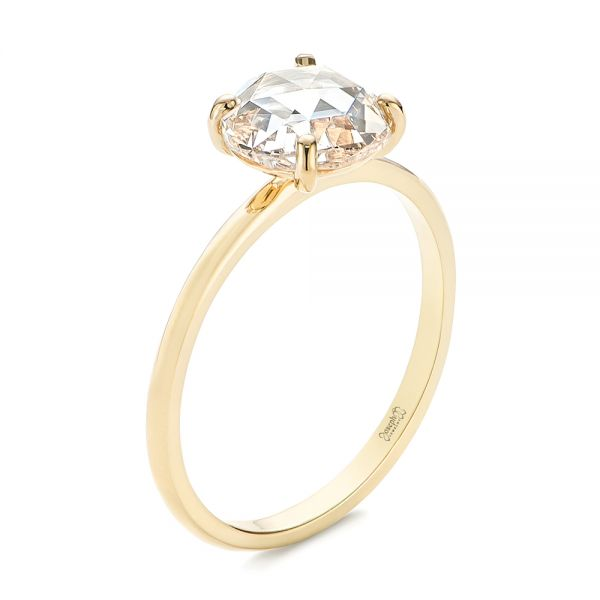 14k Yellow Gold Solitaire Rose Cut Diamond Engagement Ring - Three-Quarter View -