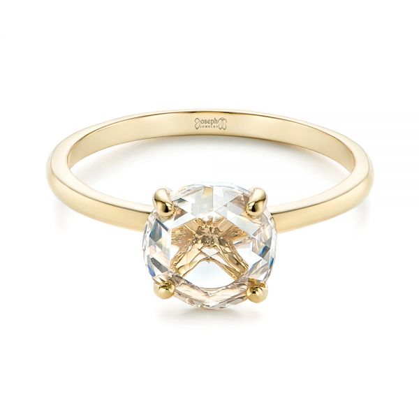 14k Yellow Gold Solitaire Rose Cut Diamond Engagement Ring - Flat View -