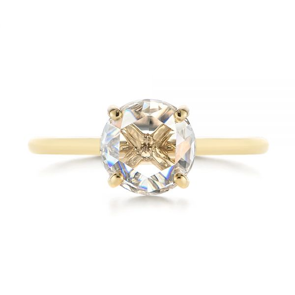 14k Yellow Gold Solitaire Rose Cut Diamond Engagement Ring - Top View -