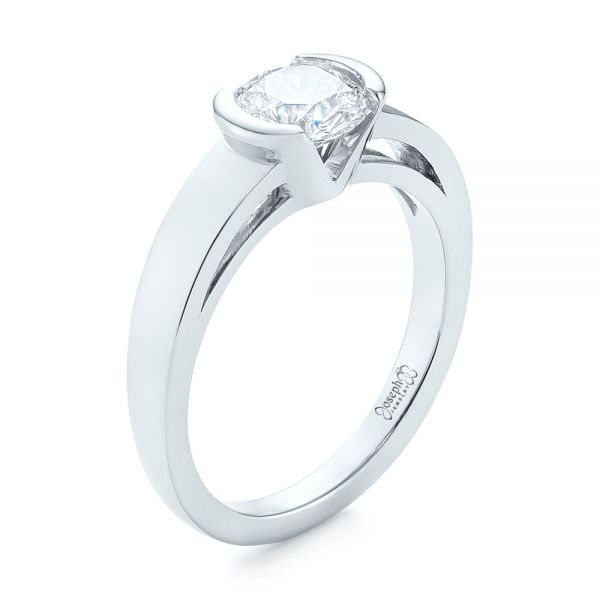 Solitaire Semi-Bezel Diamond Engagement Ring - Image