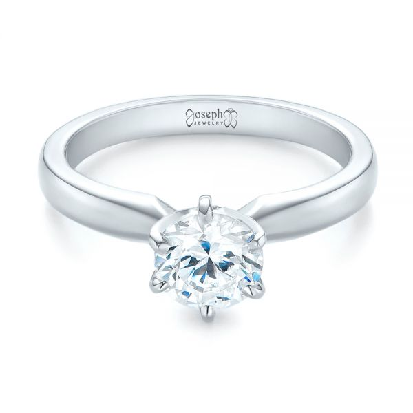 14k White Gold Solitaire Six Prong Engagement Ring - Flat View -