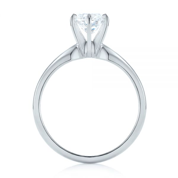 14k White Gold Solitaire Six Prong Engagement Ring - Front View -