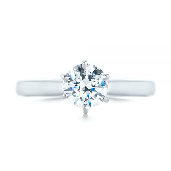 14k White Gold Solitaire Six Prong Engagement Ring - Top View -