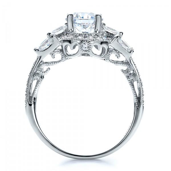 Split Shank Baguette Diamond Engagement Ring - Vanna K - Finger Through View