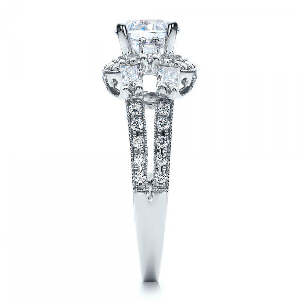 Split Shank Baguette Diamond Engagement Ring - Vanna K - Side View