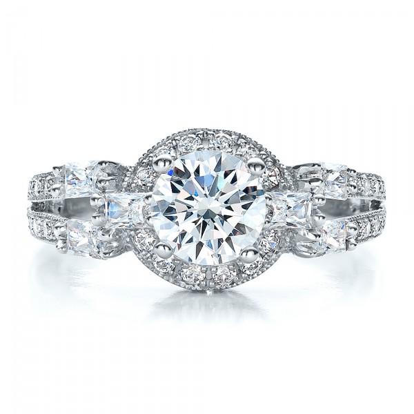 Split Shank Baguette Diamond Engagement Ring - Vanna K - Top View