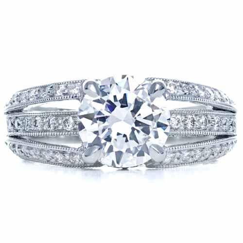 Split Shank Diamond Engagement Ring - Parade - Finger Through View