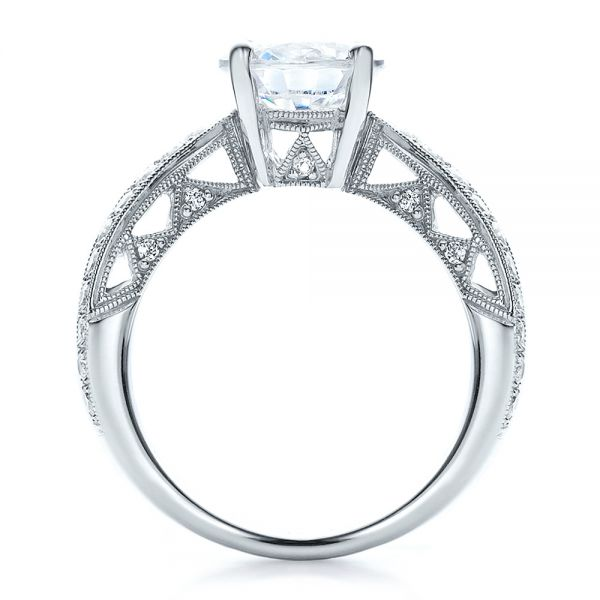 18k White Gold Split Shank Diamond Engagement Ring - Vanna K - Front View -  100110