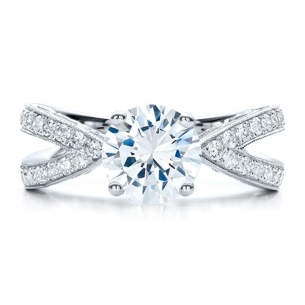 18k White Gold Split Shank Diamond Engagement Ring - Vanna K - Top View -  100110