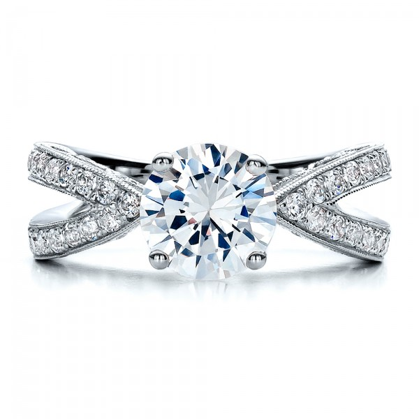 Split Shank Diamond Engagement Ring - Vanna K - Top View