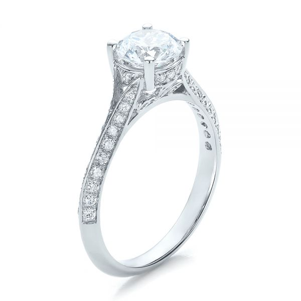 14k White Gold Split Shank Diamond Engagement Ring - Three-Quarter View -