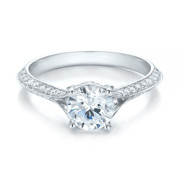 14k White Gold Split Shank Diamond Engagement Ring - Flat View -