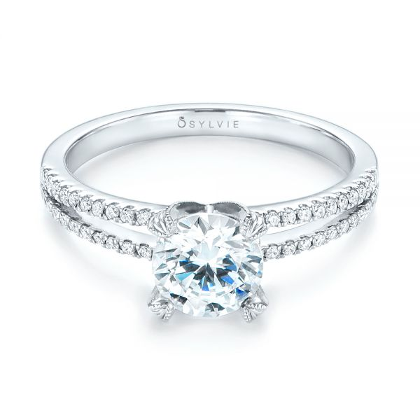 18k White Gold Split Shank Diamond Engagement Ring - Flat View -