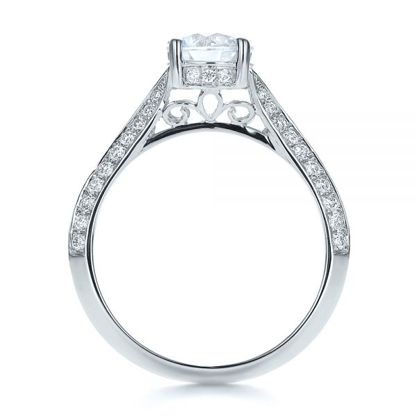14k White Gold Split Shank Diamond Engagement Ring - Front View -