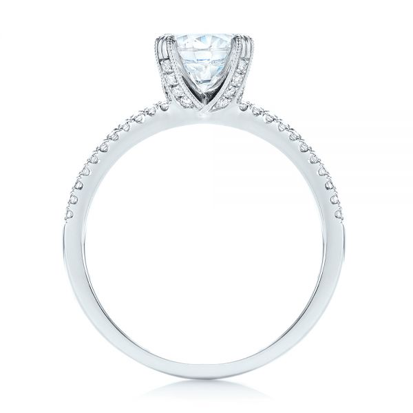18k White Gold Split Shank Diamond Engagement Ring - Front View -