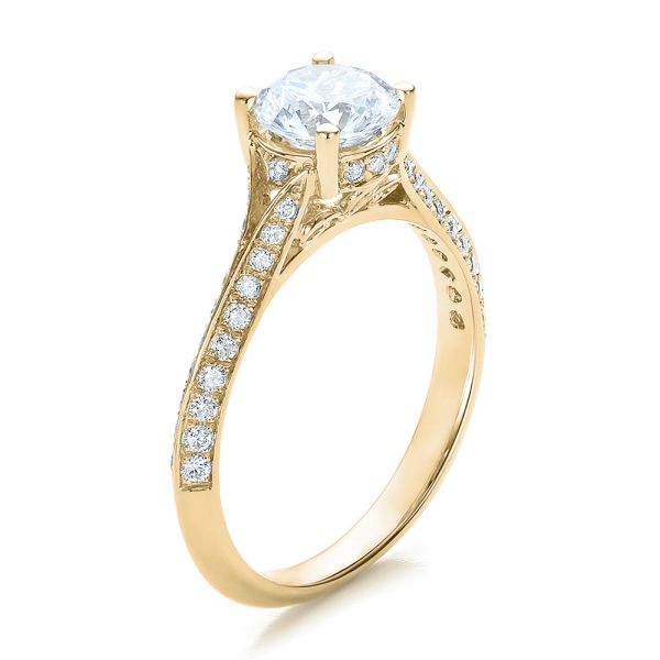 18k Yellow Gold 18k Yellow Gold Split Shank Diamond Engagement Ring - Three-Quarter View -