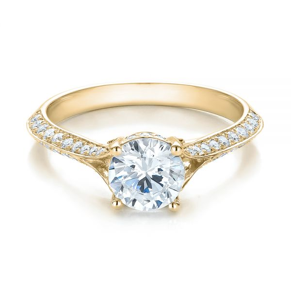 18k Yellow Gold 18k Yellow Gold Split Shank Diamond Engagement Ring - Flat View -