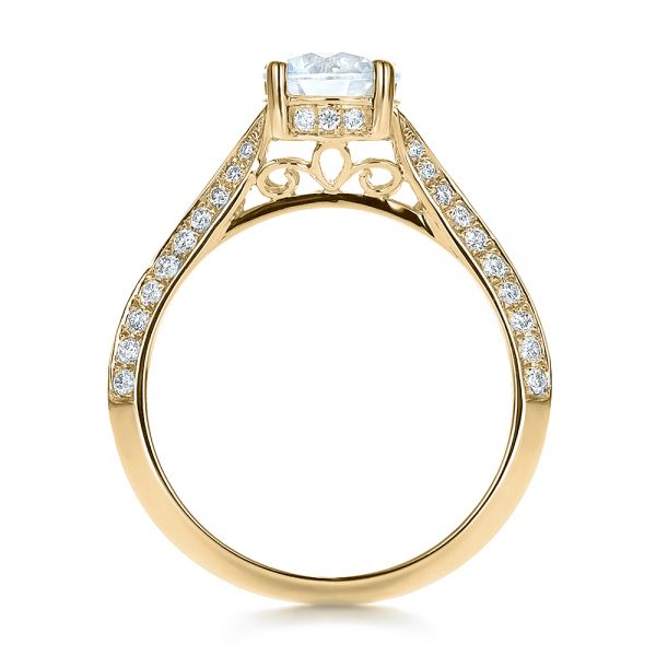 18k Yellow Gold 18k Yellow Gold Split Shank Diamond Engagement Ring - Front View -