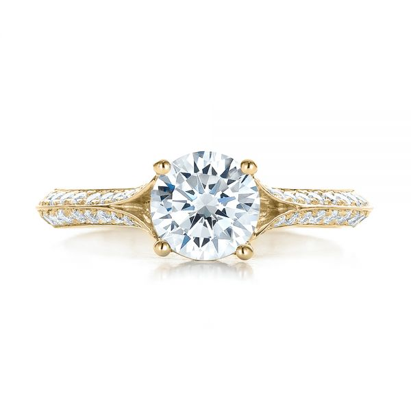 18k Yellow Gold 18k Yellow Gold Split Shank Diamond Engagement Ring - Top View -