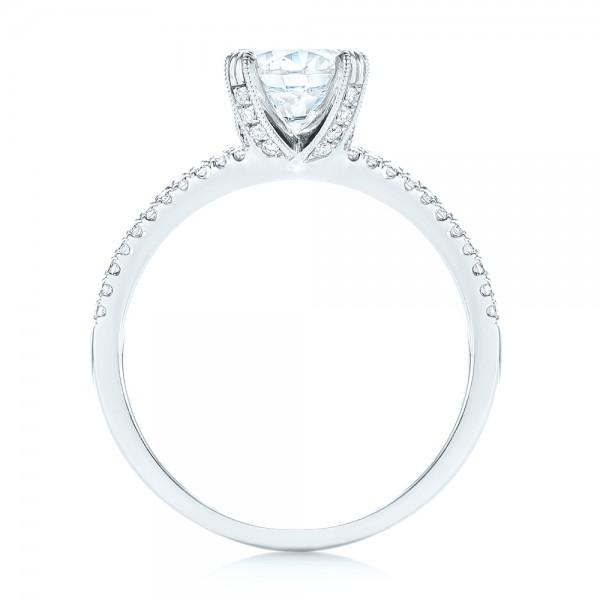 Split Shank Diamond Engagement Ring - Finger Through View