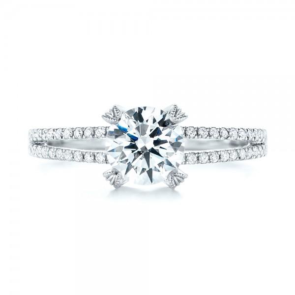 Split Shank Diamond Engagement Ring - Top View