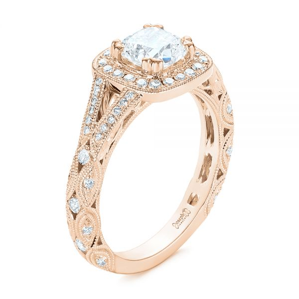 14K Rose Gold Split Shank Diamond Halo Engagement Ring - Three-Quarter View -  104984 - Thumbnail