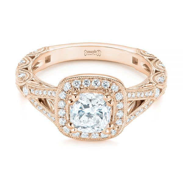 14K Rose Gold Split Shank Diamond Halo Engagement Ring - Flat View -  104984 - Thumbnail